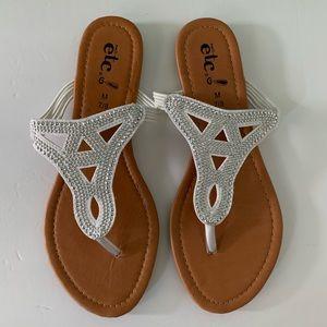 Rue 21  ETC! Silver Flat Thong Sandals, 7/8M